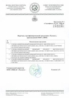 Приложение №1 к Сертификату Халяль